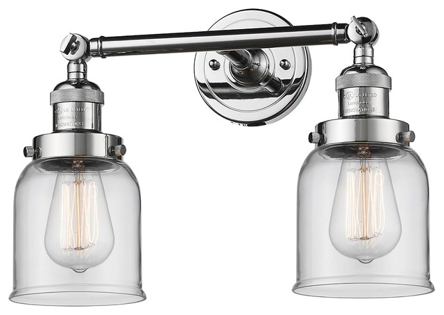 "Avalon Polished Chrome Bathroom Vanity Ceiling Lights: Polished Chrome 2-Light 16"" Bath, Vintage Bulbs"