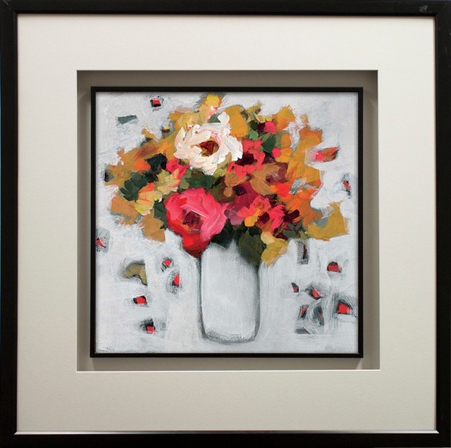 """""""early Spring I"""" By Jennifer Harwood, With Double Molding, Black, 29""""x29""""."""