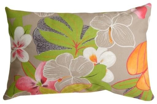 Pillow Decor - Hawaii Garden 12 X 20 Floral Throw Pillow.