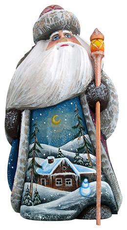Winter House Santa, Woodcarved Figurine.