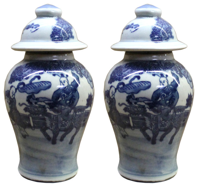 Lot of 2 Chinese Porcelain Blue & White Small Round Lid Jars Hws105