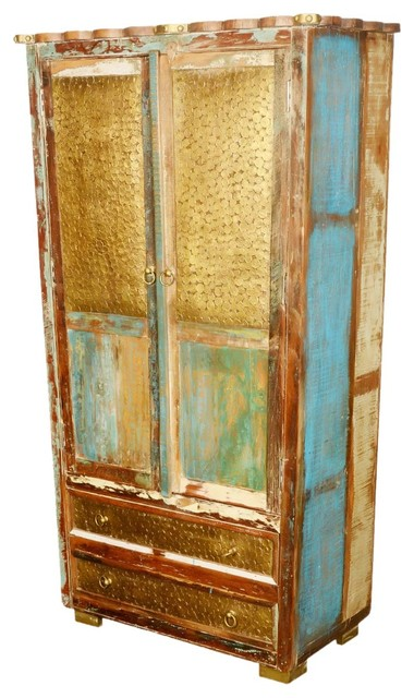 Golden Coins Reclaimed Wood 72 Armoire Cabinet Eclectic