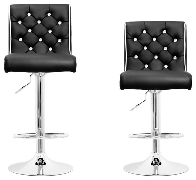 Modern Swivel Bar Stool With Crystals And Tufted Look Set Of 2