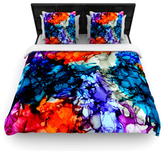 claire day evanescence blue rainbow cotton duvet cover