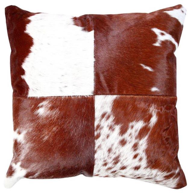 """Brown Cowhide Cushion, 20""""x20""""."""