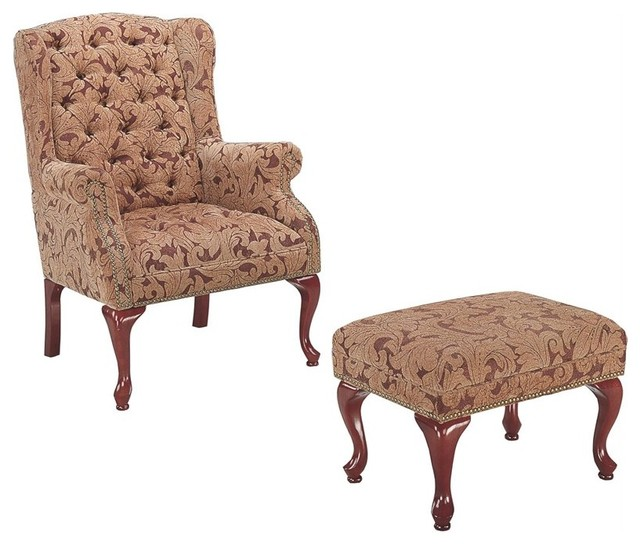 Coaster Queen Anne Button Tufted Wing Accent Chair With Ottoman.