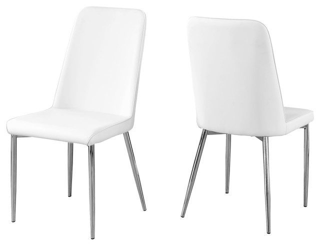 Leather-Look Dining Chair With Chrome Base, Set Of 2, White/chrome
