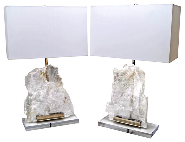 Modern Utah Ice Selenite Stone Table Lamp Set Of 2 Lamp Sets By