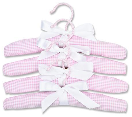 Gingham Seersucker Hangers, Set Of 4, Pink.