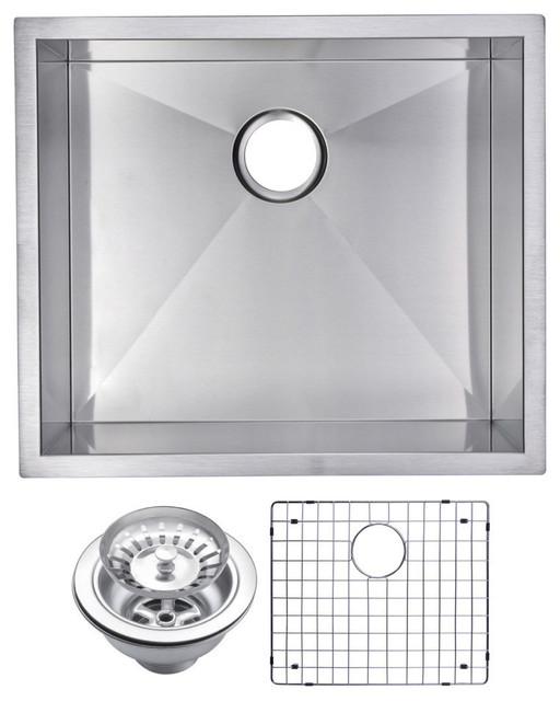 "23"" X 20"" Zero Radius Single Bowl Stainless Steel Undermount Kitchen Sink."