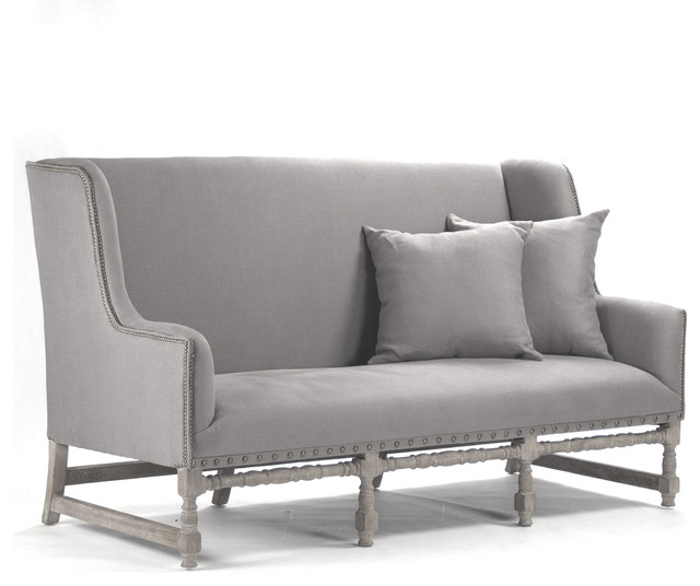 Ausbert French Country Gray Linen Dining Bench Sofa