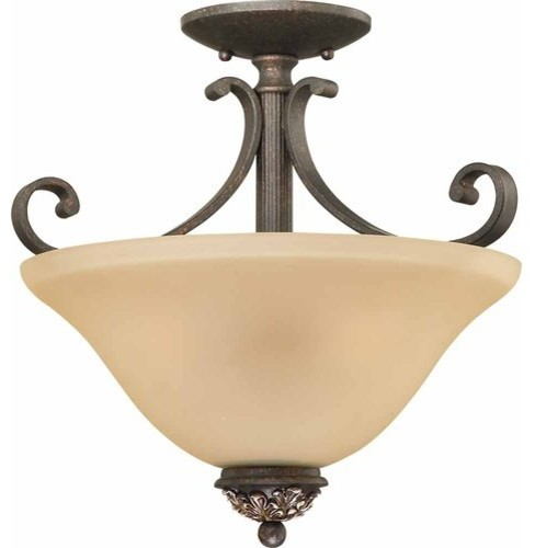Bristol 3-Light Vintage Bronze With Antique Gold Interior Semi-Flush Mount.