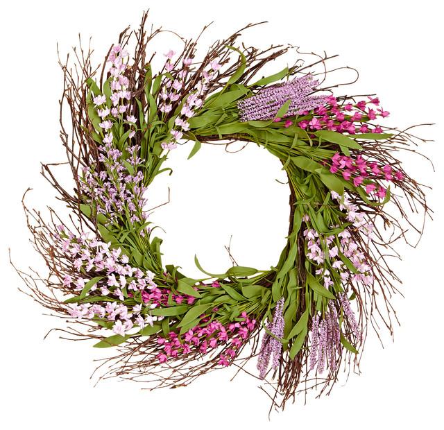 """Purple Flower Wreath, 20""""."""