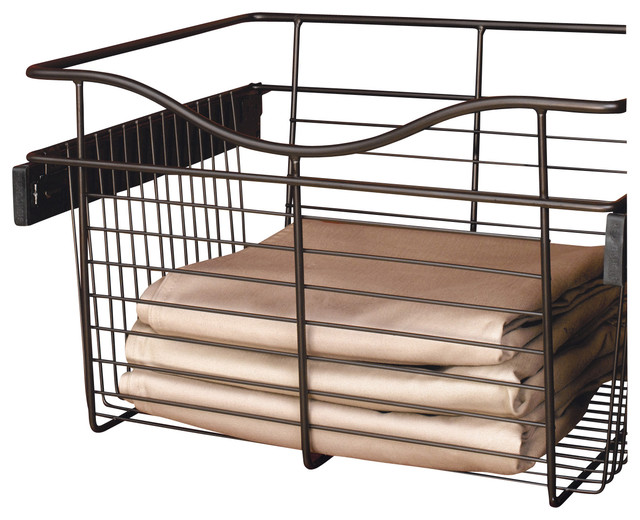 "Rev-A-Shelf, Closet Pullout Basket, Oil Rubbed Bronze, 18""."