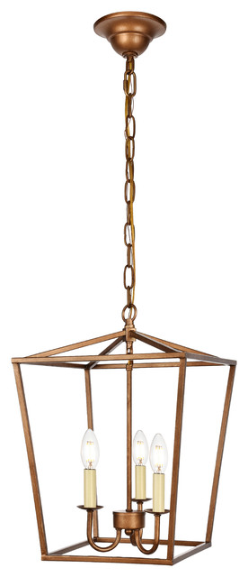 Maddox Collection Pendant, 12.5x18.25, 3-Light, Vintage Gold.