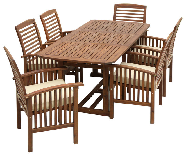 Herman 7-Piece Dining Table And Chair Set, Dark Brown.
