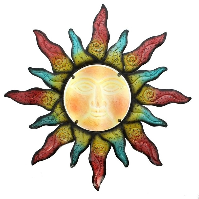 Colorful Swirling Sun Indoor Outdoor Metal Wall Art With Glass ...