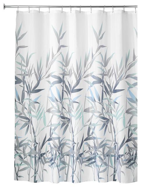 Interdesign Set Anzu Bamboo Fabric Shower Curtain And Peva 3 Liner