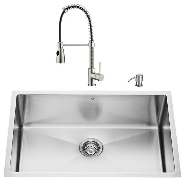 VIGO Undermount Stainless Steel Kitchen Sink and Faucet Set Modern Kitche