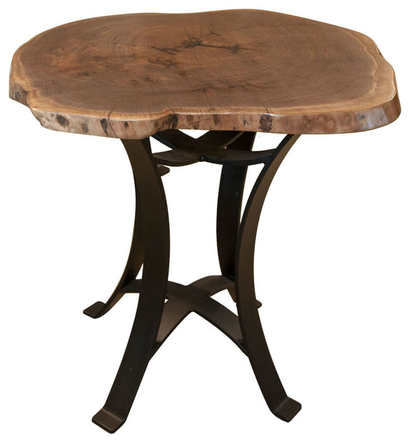 Live Edge Walnut Round Pub Table Pedestal Metal Base