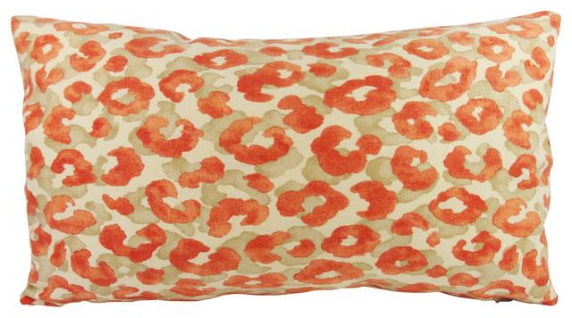 Orange Animal Print Lumbar Lumbar Throw Pillow with Feather Down