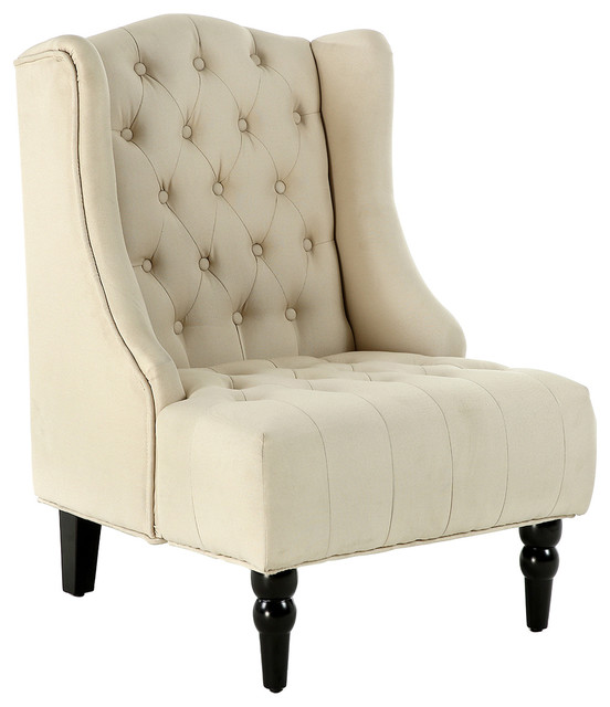 Belleze Tall Wingback Tufted Fabric Accent Chair Tufted High Back