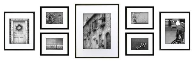 gallery perfect 7 piece frame set black modern artwork