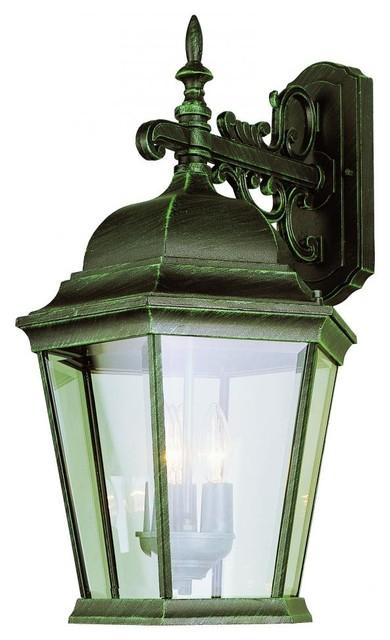 Three Light White Clear Beveled Glass Wall Lantern