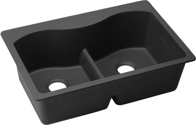 """Elkay Quartz Classic 33""""x22""""x9-1/2"""" Sink With Aqua Divide Black Elglb3322bk0."""