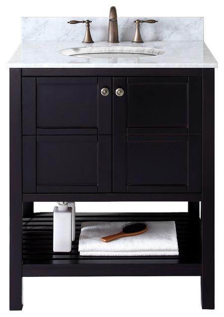 Virtu Winterfell 30 Single Bathroom Vanity, Espresso With Marble Top, Mirror.