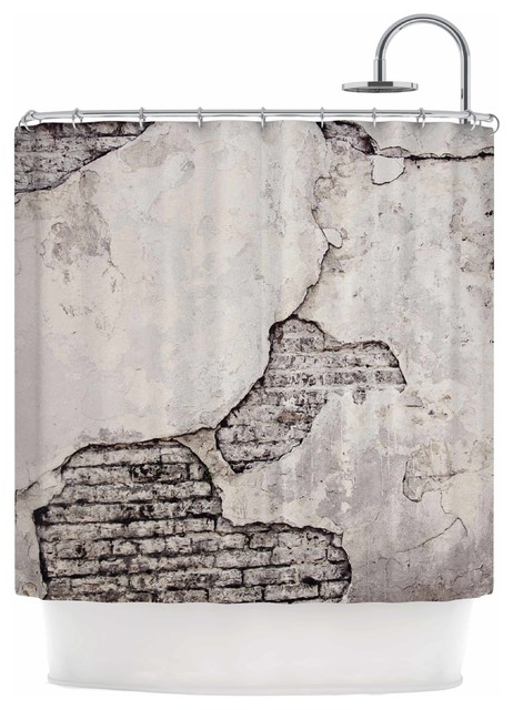 Crumbling Wall Shower Curtain Brown And Gray