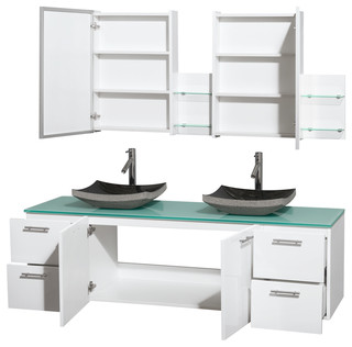 Amare 72 Glossy White Double Vanity Green Glass Top Altair Black Gran