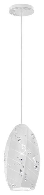 "6x12"" 1-Light Pendant In White, Swarovski Clear Crystals."