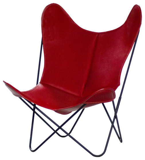 Fauteuil aa butterfly cuir rouge moderne fauteuil autres p rim tres p - Fauteuil cuir moderne ...