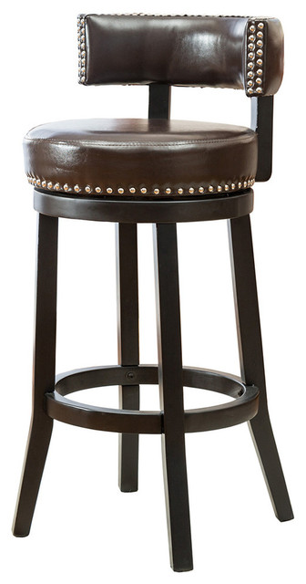 "Pair Bed Stools: Murphy 29"" Faux Leather Swivel Bar Stools, Set Of 2"