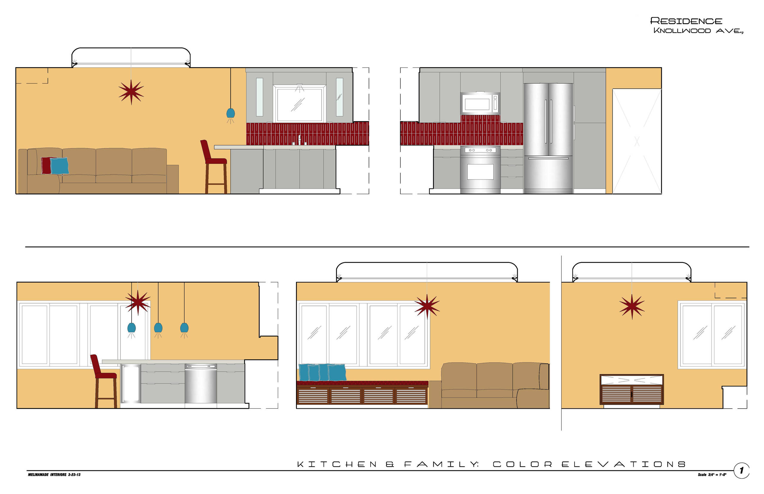 MCM kitchen & family - interior elevation drawings