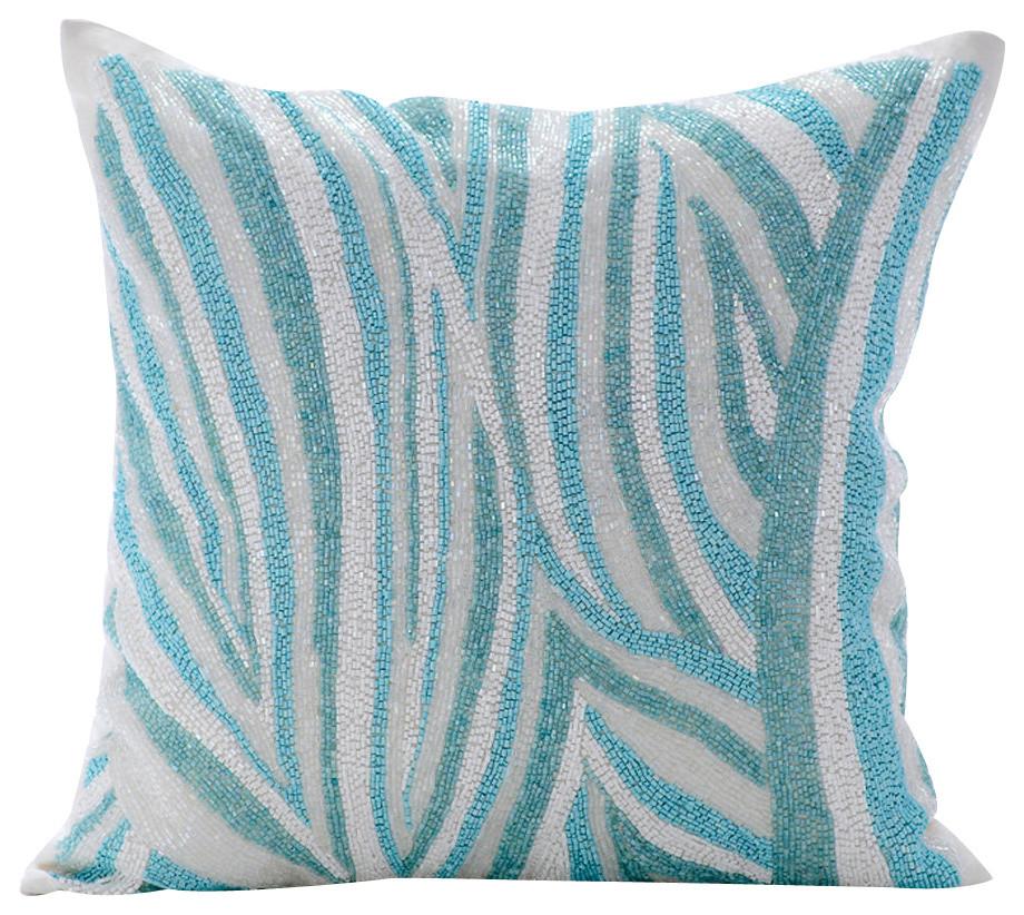 Blue Decorative Pillow Covers Silk