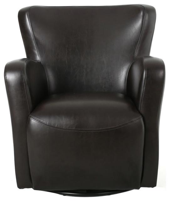 GDF Studio Almendro Black Bonded Leather Wingback Swivel Club Chair