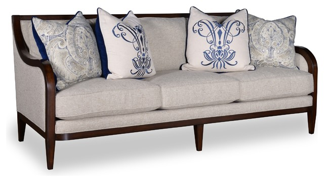 Bristol Linen 3 Seat Sofa With Tapered Legs.