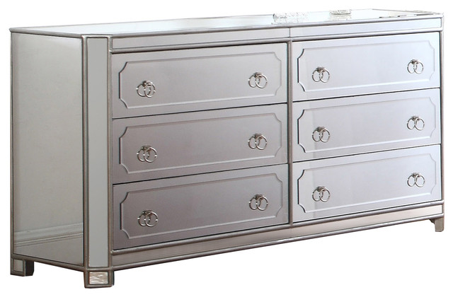 Mya Silver Mirrored 6-Drawer Dresser With Ring Handles.