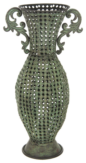 Wrought Iron Perforated Floral Vase Vases By Oriental Furniture