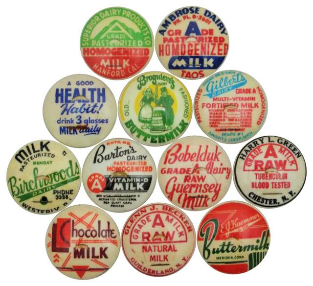 Milk Bottle Cap Cabinet Knobs, 12-Piece Set - Farmhouse ...