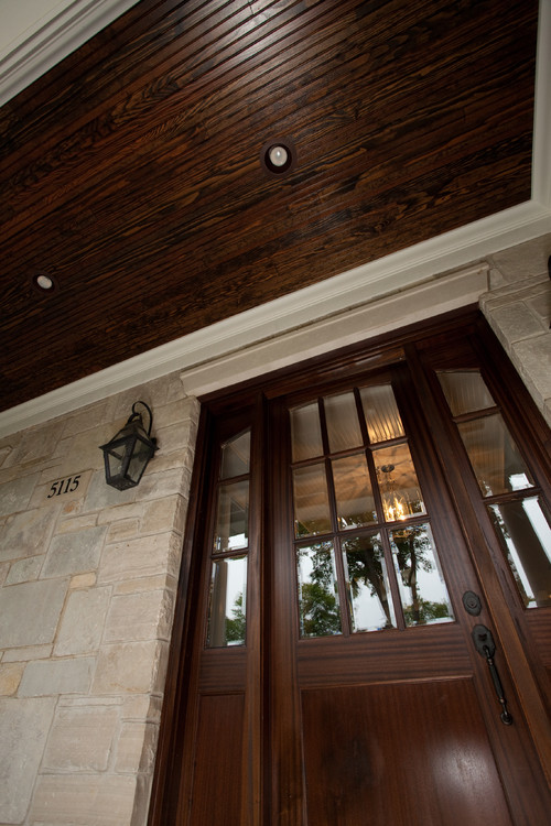 Is This A Fiberglass Door Or Wood, Stained On Site Or Factory, What Is The  Stain For The Ceiling?
