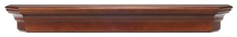 "The Lindon 48"" Shelf Or Mantel Shelf, Distressed Cherry Finish."