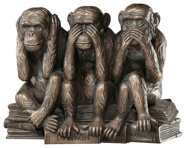 Hear-No, See-No, Speak-No Evil Monkeys Statue contemporary-decorative-objects-and-figurines