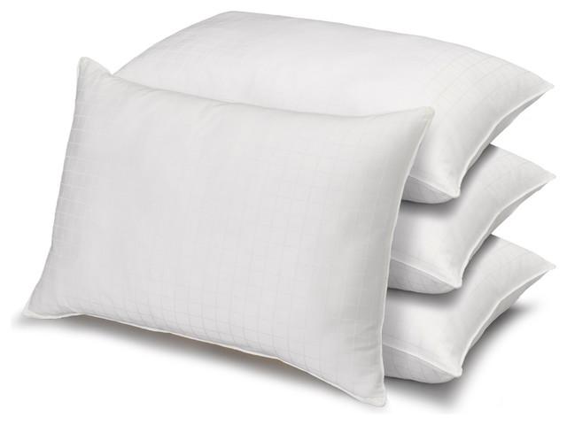 4-Pack Dobby Windowpane Soft Stomach Sleeper Pillows, Queen