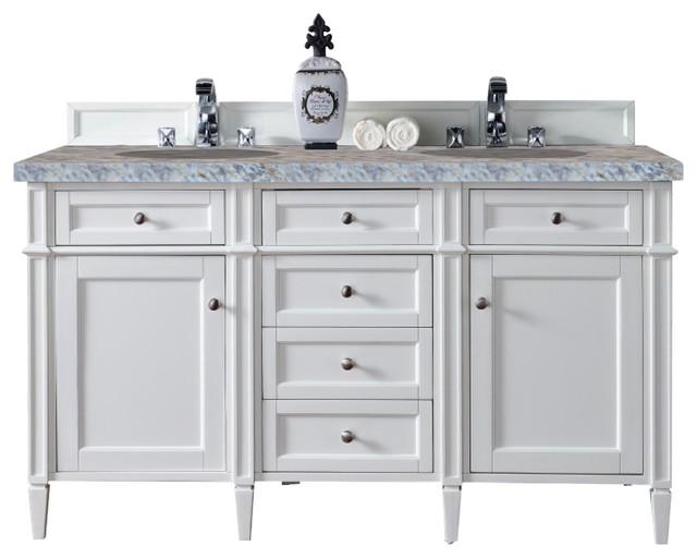 Brittany 60 Double Cabinet, Cottage White, 4cm Carrera White Stone Top.