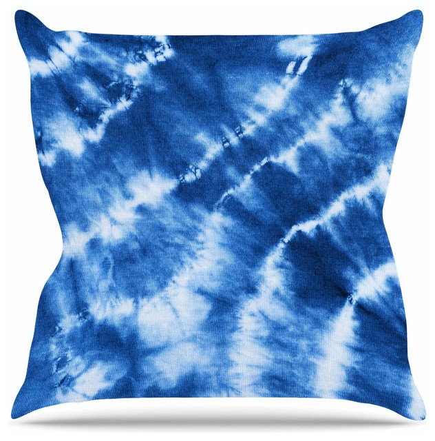 """shibori Indigo"" Blue White Abstract Painting Throw Pillow."