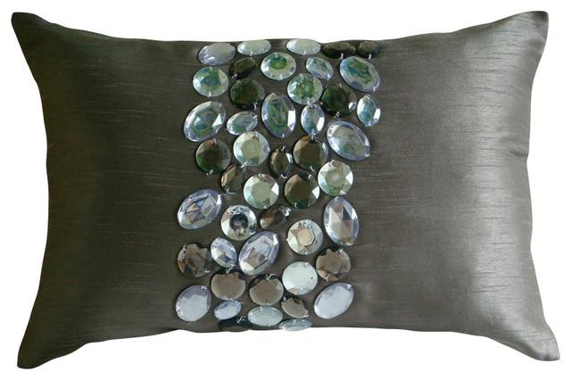 "Crystals Gray Art Silk 12""x20"" Lumbar Pillow Cover, Crystal Delight."