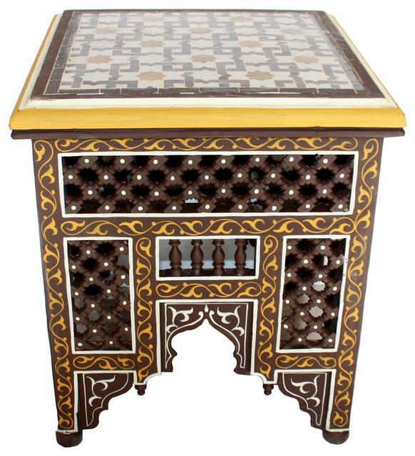 Moroccan Hand Painted Tile Top Side Table Brown Mediterranean